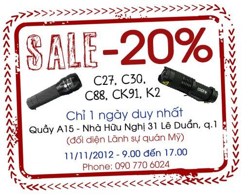 Khuyến mãi giảm giá đèn pin 20%