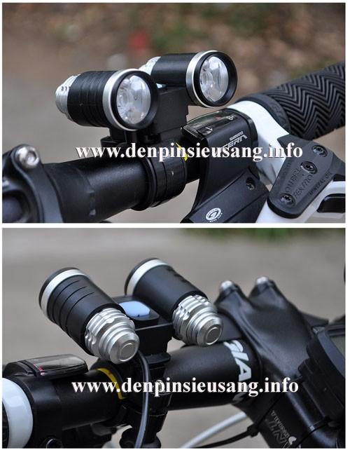 Đèn pin đeo trán 2led (đèn xe đạp)