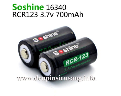 Pin 16340 Soshine 700mAh 3.7v