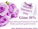 Chương trình đã kết thúc Mừng ngày quốc tế phụ nữ 8/3 Công ty Điện Tử Siêu Sáng đặc biệt giảm ngay 30% cho các bạn nữ mua bất kỳ sản phẩm nào tại http://www.denpinsieusang.info/, cụ thể như sau: – Giảm 30% cho bất kỳ sản phẩm nào của chúng tôingoại trừ (JetBeam, Olight và EagleTac) – Tặng thêm một phần quà vô cùng dễ thương – Điều kiện quan trọng: Khách hàng phải là […]<!-- AddThis Sharing Buttons below -->