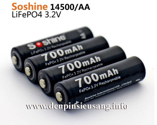 Pin 14500 Soshine Lifepo4 700mAh 3.2v